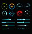 loading process and status bar icons hud interface vector image vector image