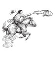 man lassoing book riding vintage engraving vector image