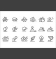 natural disaster icon set storm flood volcanic vector image vector image