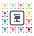 net folder flat icons set vector image