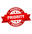 priority ribbon priority round red sign priority vector image vector image