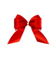 realistic ribbon red bow isolated on white vector image vector image