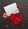red rose petals valentines card background vector image vector image