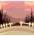 road with a fence in the mountains with fir trees vector image vector image