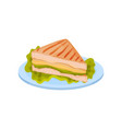 sandwich with chicken meat cheese and lettuce on vector image vector image