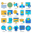 search engine optimization icon set in line style vector image vector image