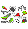 set cartoon sneakers skateboard and baseball vector image