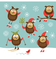 set different owls character vector image vector image