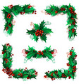 Set of Christmas holly berries design elements vector image