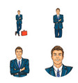 set of male avatars in pop art style vector image vector image