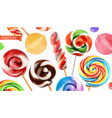 swirl candy lollipop 3d realistic icon set vector image