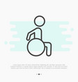 Thin line icon of disabled in wheelchair