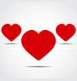 three heart icons with shadow vector image
