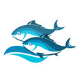 two fish on the wave vector image vector image