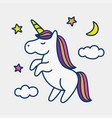unicorn on stars clouds and moon background vector image vector image