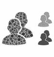 users mosaic icon bumpy parts vector image vector image