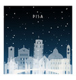 winter night in pisa night city in flat style vector image vector image