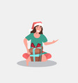 woman in santa claus hat sitting with gift present vector image