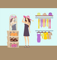 woman shopping in clothes store boutique vector image vector image