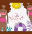 women hello summer holiday design vector image vector image