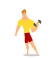 young man male bodybuilder weightlifter doing vector image vector image