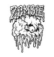 zombie text and skull out eyes vector image