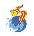 magical goldfish on the wave vector image