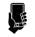 hand holding phone icon vector image