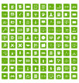 100 plan icons set grunge green vector image vector image
