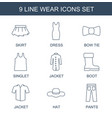 9 wear icons vector image vector image