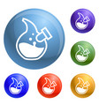 abstract chemical flask icons set vector image
