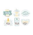 ayurvedic yoga harmony labels set enjoy yoga vector image