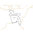 Bangladesh hand-drawn sketch map vector image