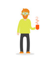 bearded man is holding a cup of tea vector image