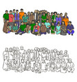 big asian family sketch doodle hand vector image vector image