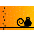 black silhouette of cat with foot track vector image