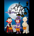 cartoon kids with halloween costume holding pumpki vector image vector image