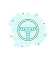 cartoon steering wheel icon in comic style rudder vector image