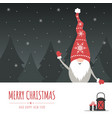 christmas gnome with big signboard holiday vector image vector image