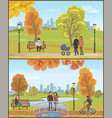 couple with pram autumn city park set vector image vector image