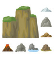 different mountains cartoon icons in set vector image