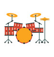 drum kit part of musical instruments set of vector image