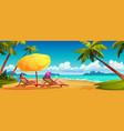 family couple sunbaon summer beach seashore vector image