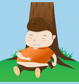 fat boy take a nap cartoon vector image
