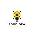 fork bulb food idea smart logo icon vector image vector image