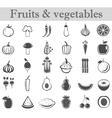 fruits and vegetables black icon set Dark vector image vector image