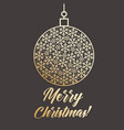 golden bauble with snowflakes and merry christmas vector image