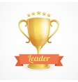 golden winner cup on white vector image vector image