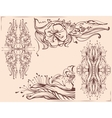 Graphic floral ornament Pencil line drawing vector image