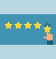 hand and five star rating online positive vector image